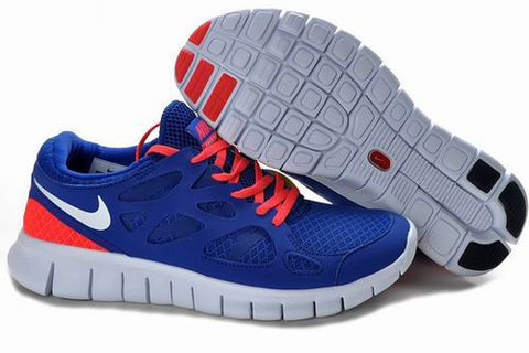 2013 Nike Free Run +2 Dark Royalblue Reddish Orange Mens Shoes