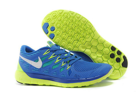 Nike Free 5.0+ Mens Running Shoes Military Blue / Volt / White