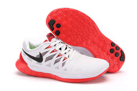 Nike Free 5.0+ Mens Running Shoes White / Black / University Red