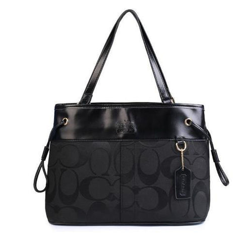 Coach Borough Logo Monogram Large Black Totes FBO
