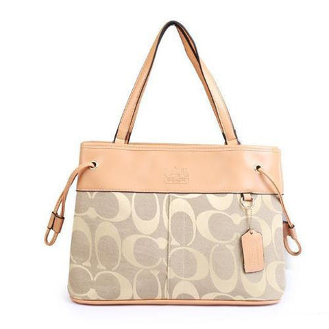 Coach Borough Logo Monogram Large Apricot Totes FBQ