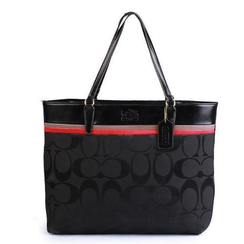 Coach Borough In Signature Large Black Totes FBT