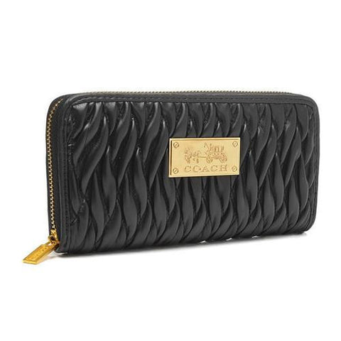 Coach Accordion Zip In Gathered Twist Large Black Wallets FCT