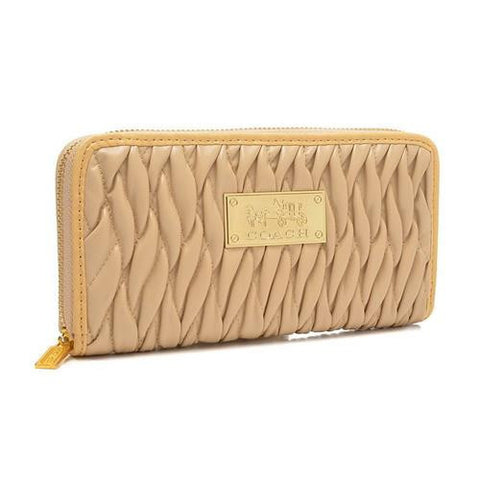 Coach Accordion Zip In Gathered Twist Large Ivory Wallets FCU