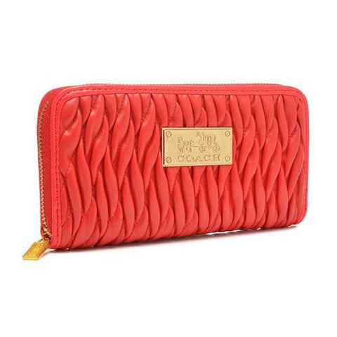 Coach Accordion Zip In Gathered Twist Large Red Wallets FCV