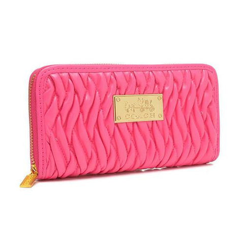 Coach Accordion Zip In Gathered Twist Large Pink Wallets FCX