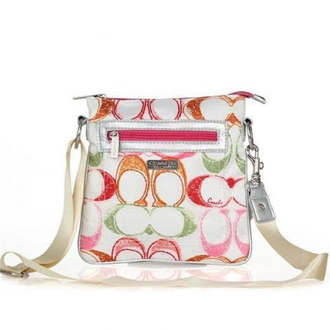 Coach Colorful Fashion Signature Small White Multi Crossbody Bags FEG