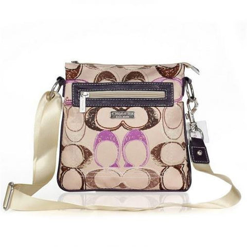 Coach Colorful Fashion Signature Small Apricot Multi Crossbody Bags FEI