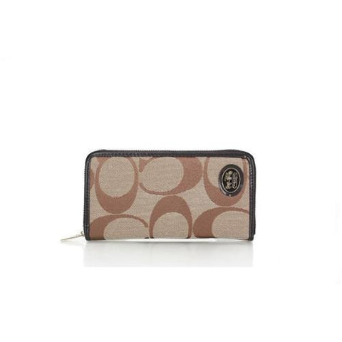 Coach Big Logo Signature Small Apricot Wallets FEV