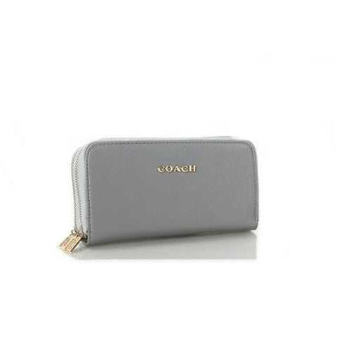 Coach Double Zip In Saffiano Small Grey Wallets FFO