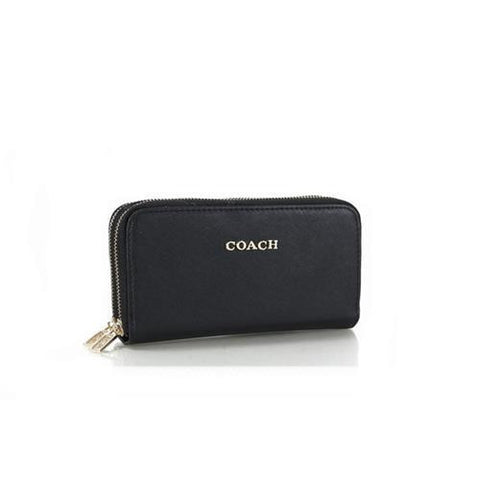 Coach Double Zip In Saffiano Small Black Wallets FFQ