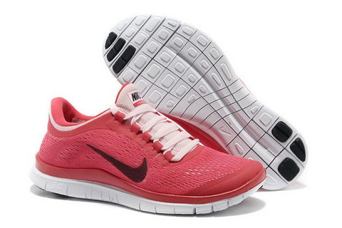 Nike Free Run 3.0 V5 Womens Running Shoes Gym Red / Pink / Black / White