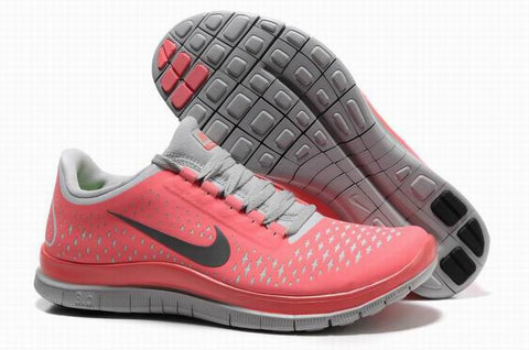Nike Free 3.0 V4 Light Red Gray Womens Running Shoes