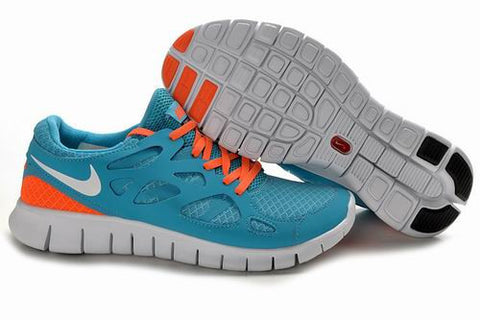 2013 Nike Free Run +2 Water Blue Orange Womens Shoes