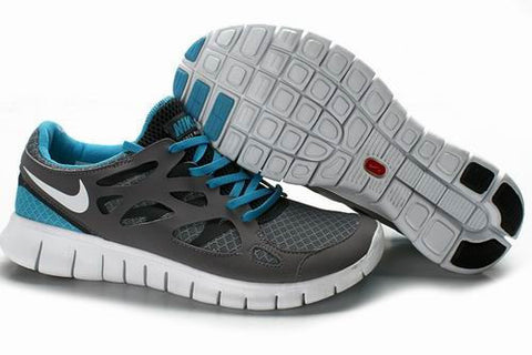 2013 Nike Free Run +2 Dark Gray Water Blue Womens Shoes