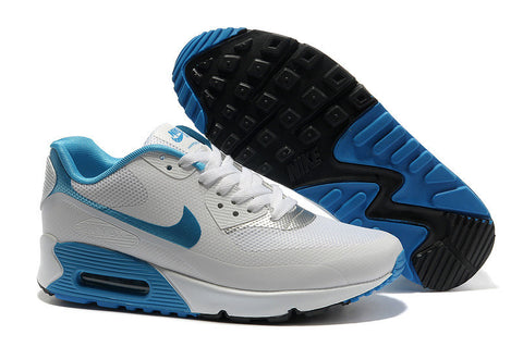 sale retailer huge sale super popular Womens Nike Air Max 90 Hyperfuse Trainers White/Blue