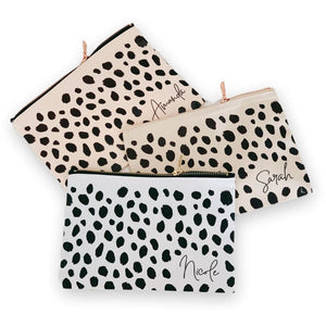 Cheetah Print Personalized Makeup Bag, Make Up Bag, [JcubedK]