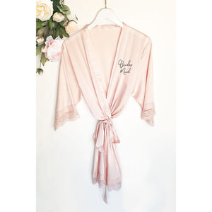 Satin Lace Bridal Party Robes, Robe, [JcubedK]