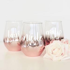 Personalized Rose Gold Stemless Bridesmaid Glass - jcubedk