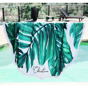Personalized Palm Leaf Beach Towel, Towel, [JcubedK]