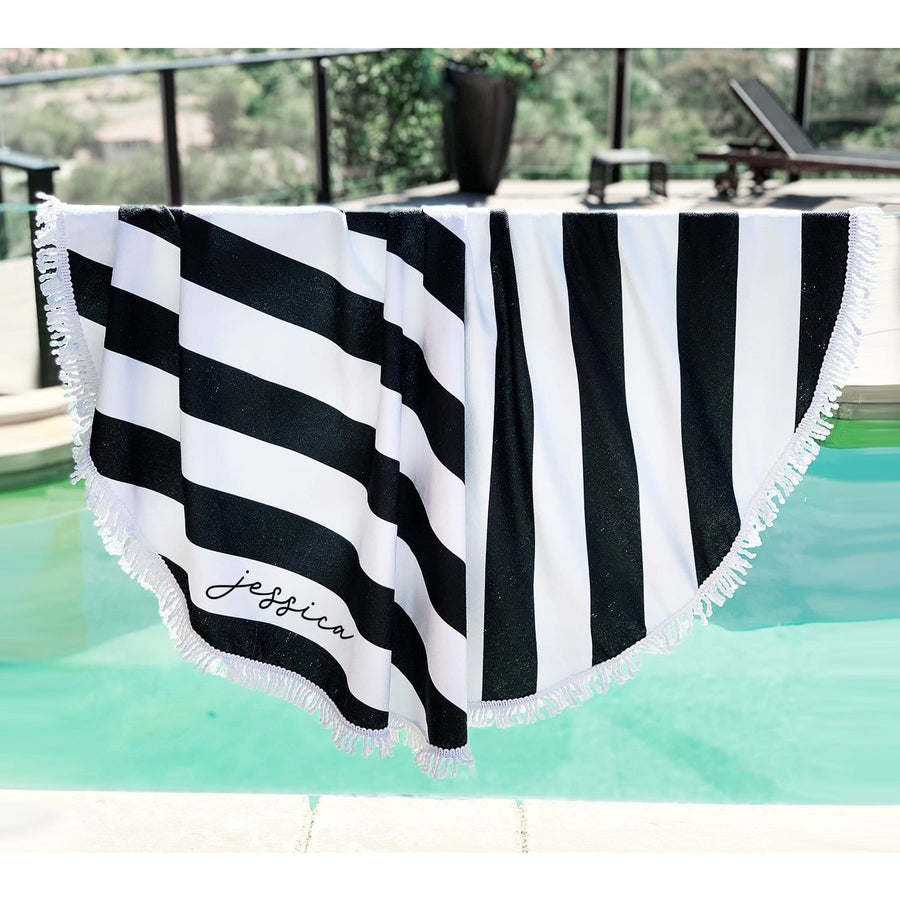 Personalized Beach Towel Black & White Striped, towel, [JcubedK]