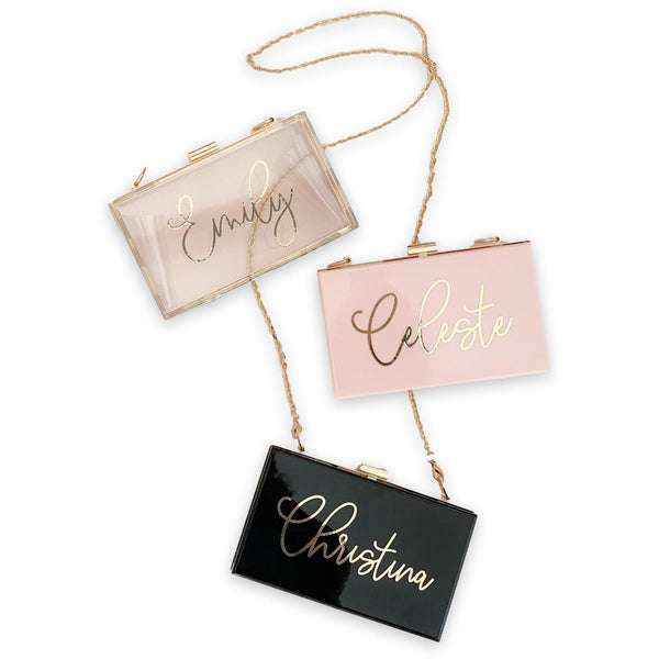 Personalized Acrylic Bridesmaid Clutch Purse - jcubedk