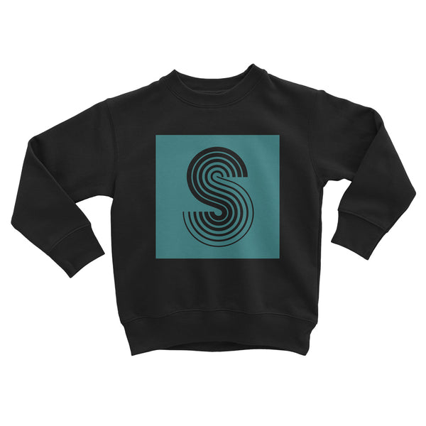 Kids 'Square Letter' Sweat Black Turquoise