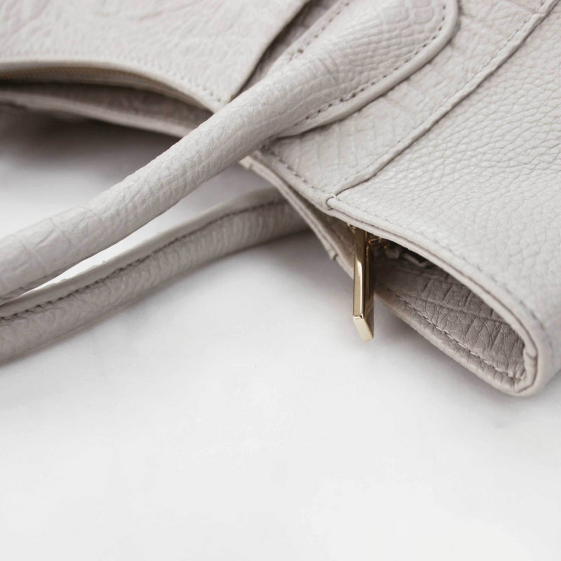 STORY 81 Georgia Vegan Leather Grey Tote Bag Side View