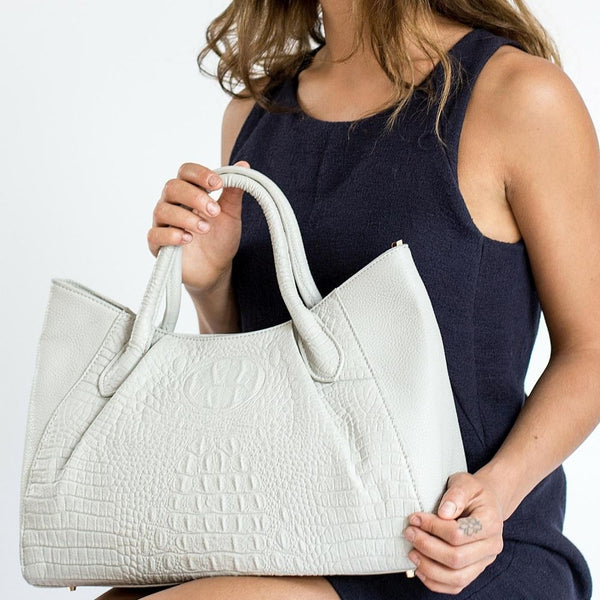STORY 81 Georgia Vegan Leather Grey Tote Bag on Model