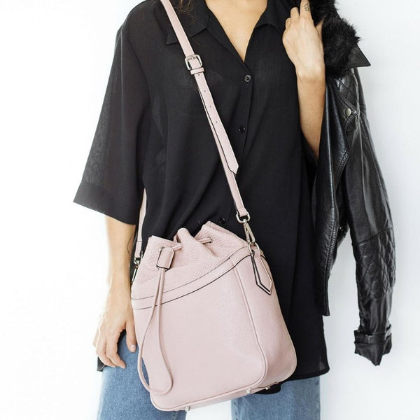 STORY 81 Pia Vegan Leather Blush Pink Bucket Shoulder Bag on Model