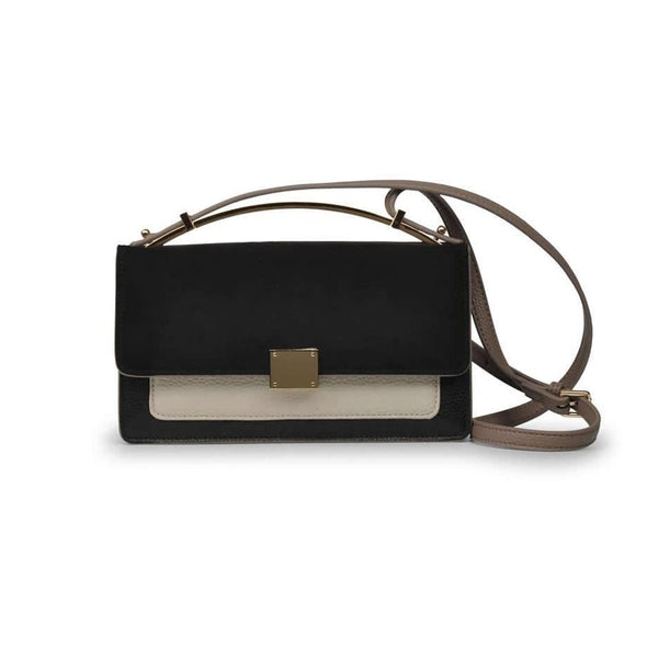 STORY 81 Milan Vegan Leather Black Mini Shoulder Bag Front