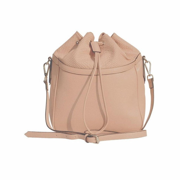 STORY 81 Pia Vegan Leather Blush Pink Bucket Shoulder Bag Front