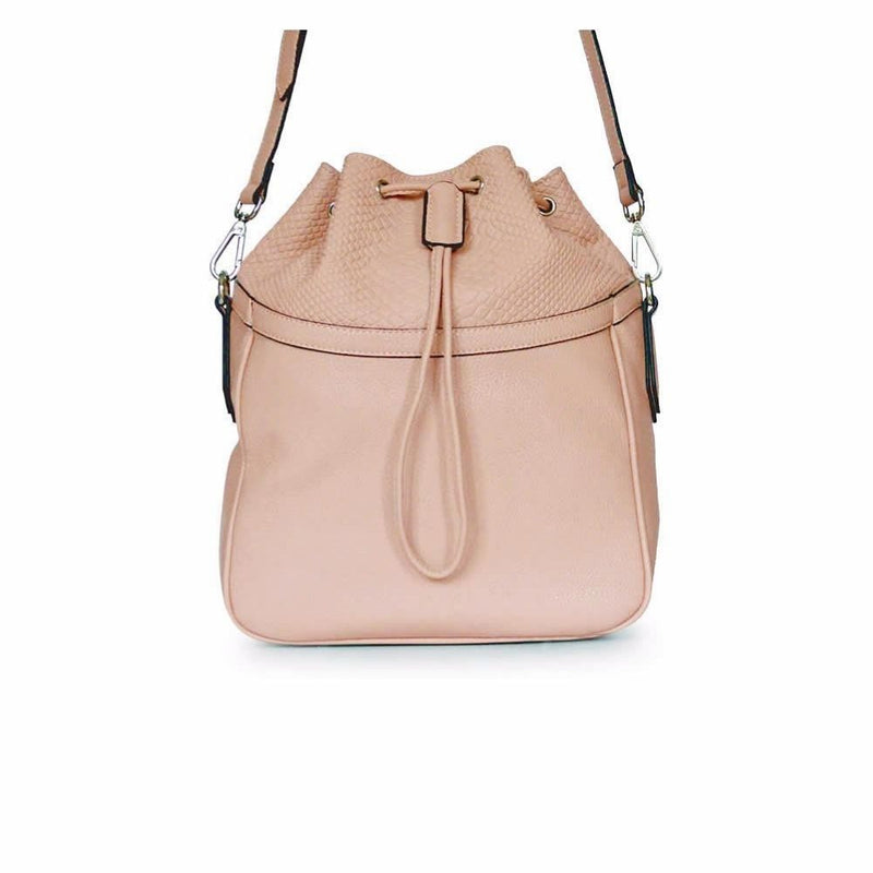 STORY 81 Pia Vegan Leather Blush Pink Bucket Shoulder Bag Front with strap