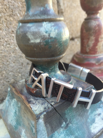 """FAITH""  Bracelet with SILVER letters"