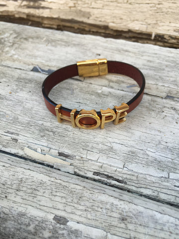 """HOPE""  Bracelet with GOLD letters"