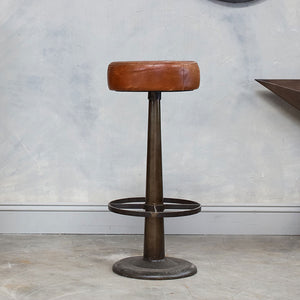 Aged Leather Stool