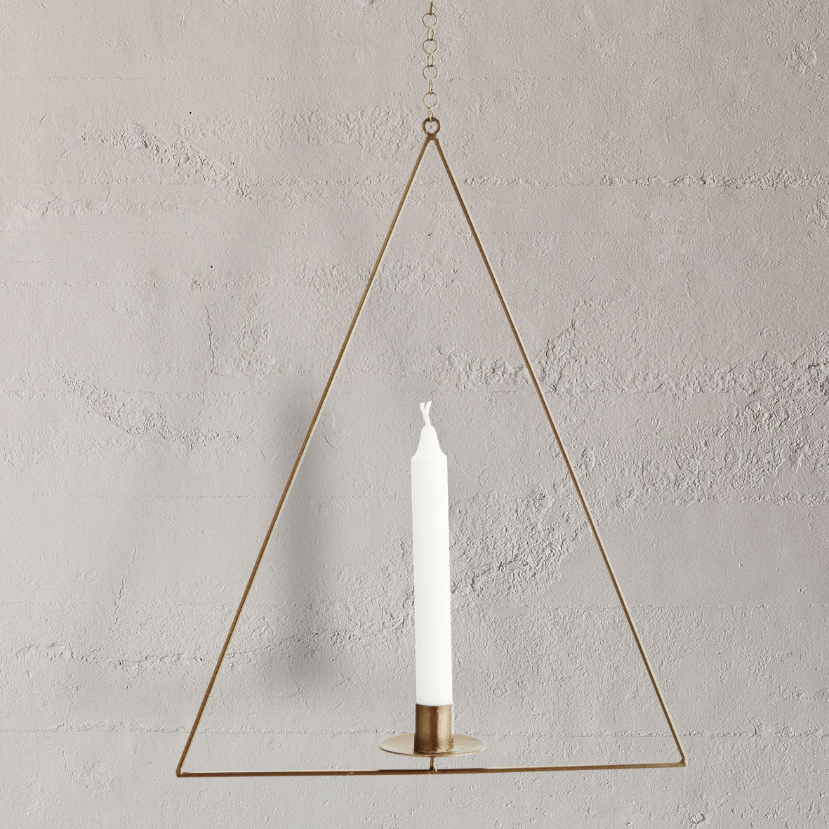 Hanging wire triangle candleholder – Home Sanctuary
