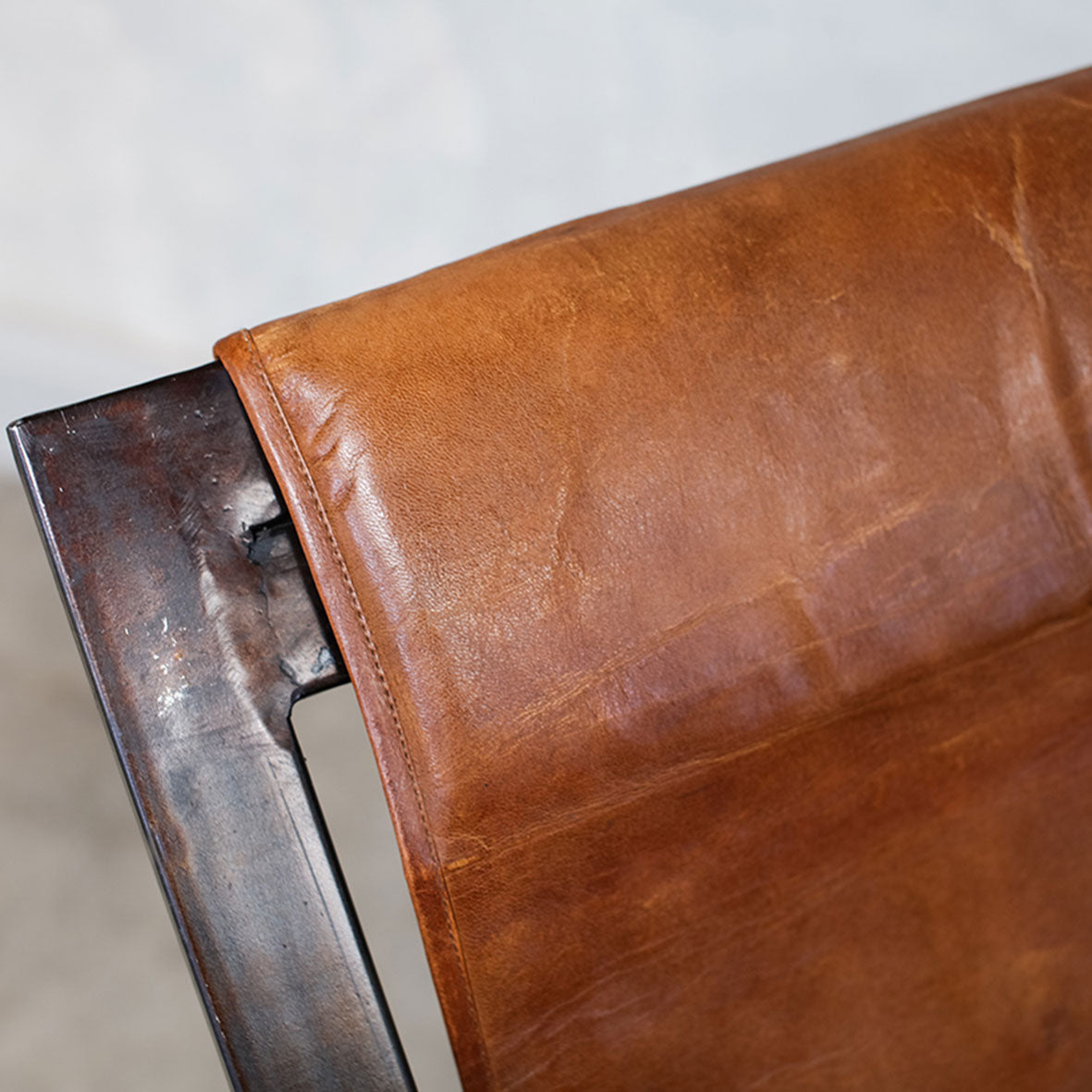 Iron and Leather Chair