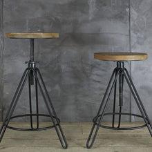 Adjustable Wood and Iron Stool