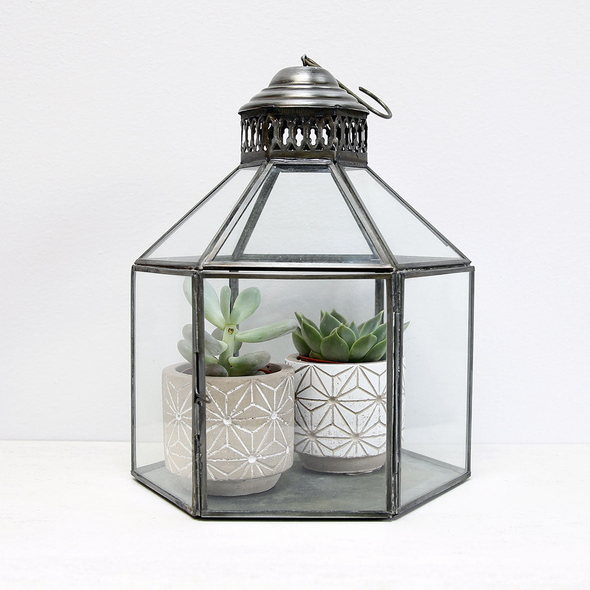Hexagon zinc lantern