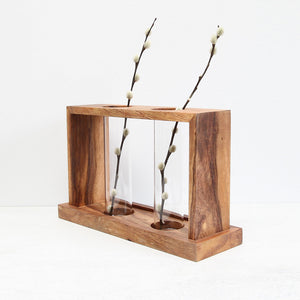 Wood & Glass Vase