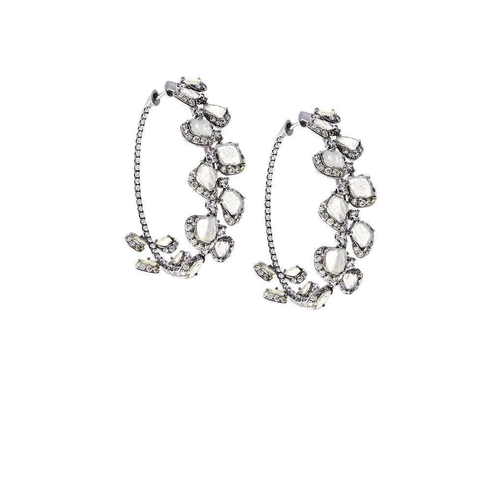 Diamonds & 18K Oxidized White Gold Hoop Earrings - SOLD