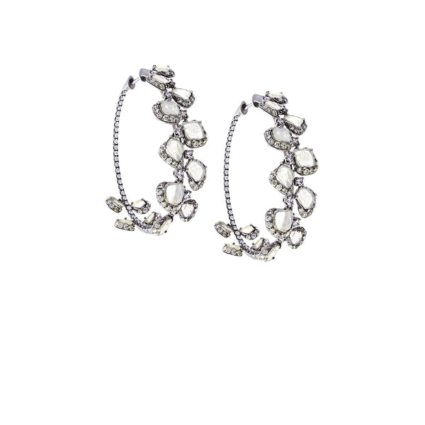 Diamonds & 18K Oxidized White Gold Hoop Earrings - SOLD/CAN BE SPECIAL ORDERED WITH 4-6 WEEKS DELIVERY TIME FRAME