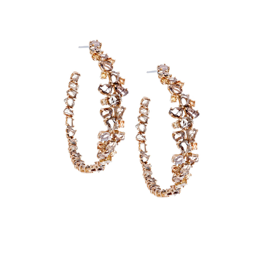 Raw Diamonds & 18K Rose Gold Cluster Hoop Earrings- SOLD/CAN BE SPECIAL ORDERED WITH 4-6 WEEKS DELIVERY TIME FRAME
