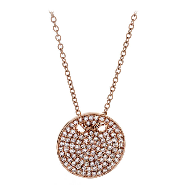 Diamond Medallion Pendant Necklace in Rose Gold