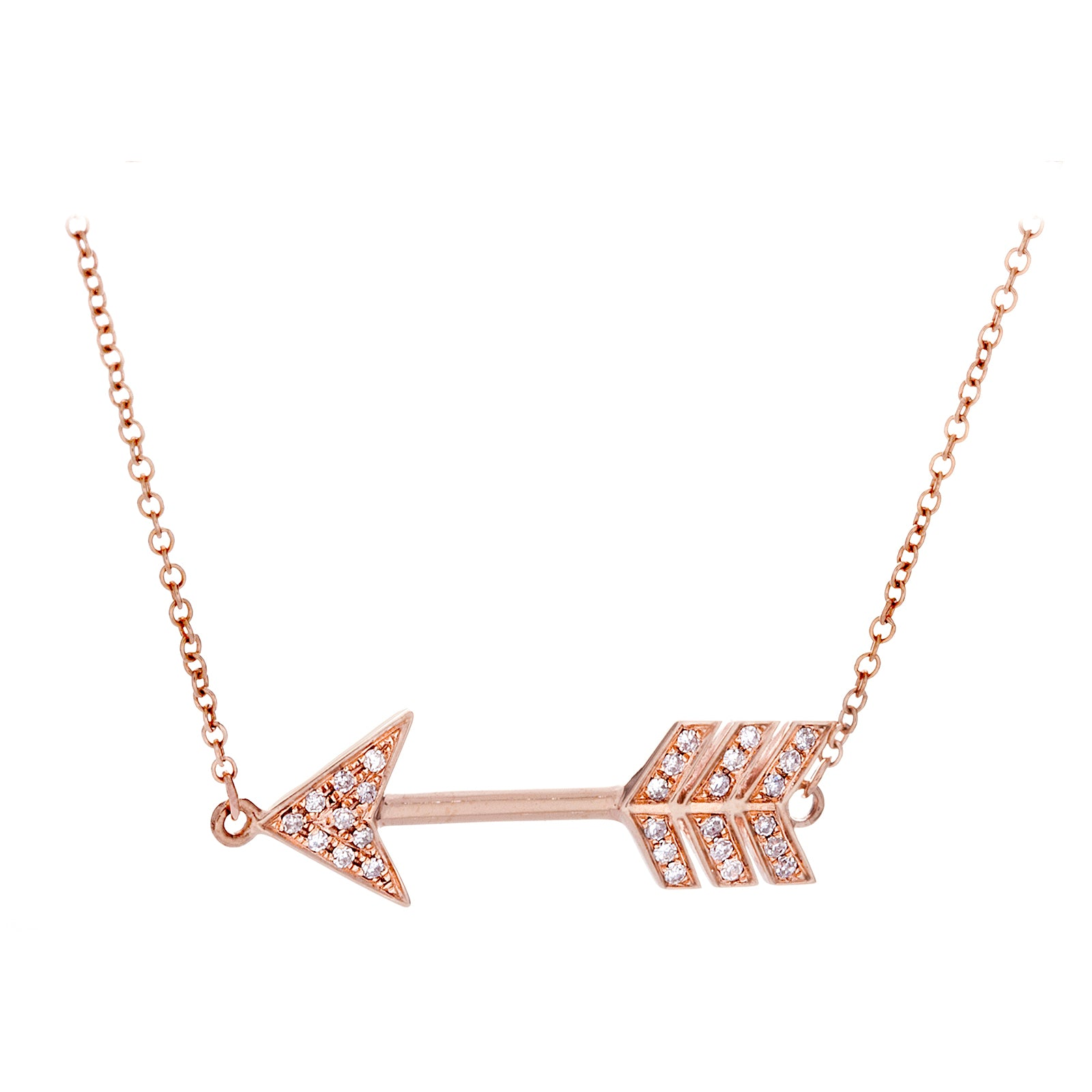 Diamonds & 14K Rose Gold Arrow Necklace