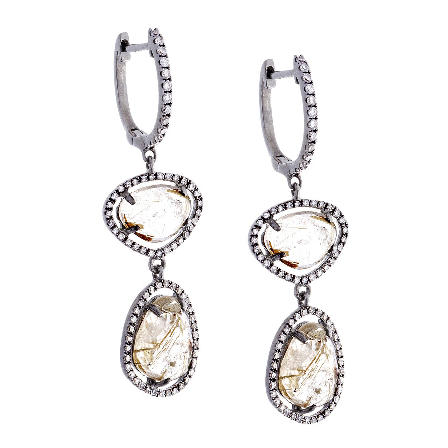 Rutilated Quartz, Diamond & 14K White Gold Double Drop Earrings
