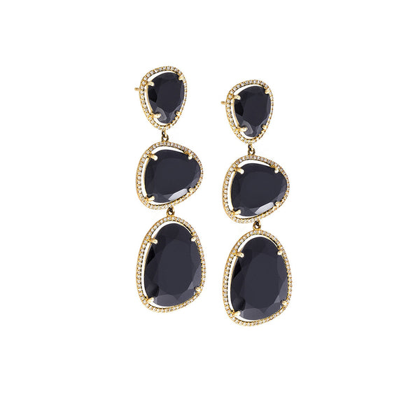 Black Onyx, Diamond & 14K Yellow Gold Triple Drop Earrings - SOLD/CAN BE SPECIAL ORDERED WITH 4-6 WEEKS DELIVERY TIME FRAME