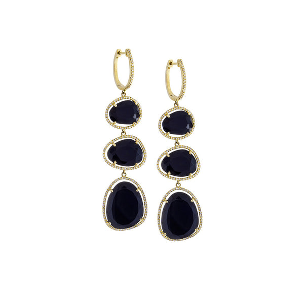 Diamond, Black Onyx & 14K Yellow Gold Triple Drop Earrings