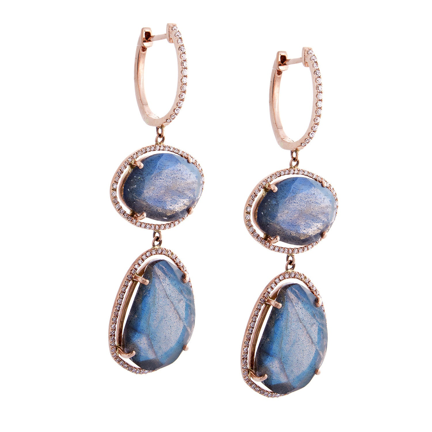 Labradorite, Diamond & 14K Rose Gold Double Drop Earrings